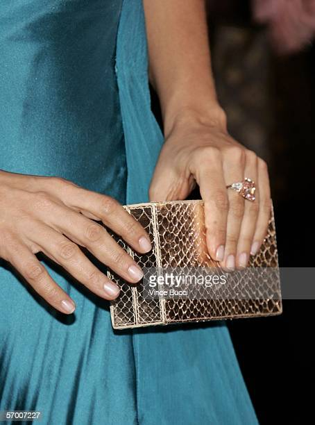 Detail of a purse belonging to actress Salma Hayek is seen as she arrives to the 78th Annual Academy Awards at the Kodak Theatre on March 5, 2006 in...