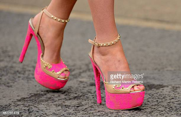 Detail of a racegoers highheeled shoes during Day 1 of the Aintree races at Aintree Racecourse on April 3 2014 in Liverpool England