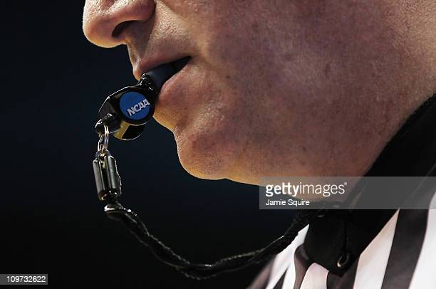 A detail of a referee's whistle during the game between the Texas AM Aggies and the Kansas Jayhawks on March 2 2011 at Allen Fieldhouse in Lawrence...