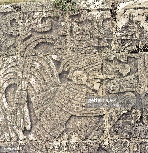 Detail of a relief carving depicting a Mayan ball player at the Great Ball Court in ChichenItza Mexico