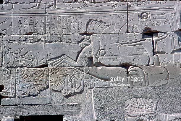 Detail of a relief of the Pharaoh in his chariot riding down his enemies Temple of Amun Karnak Egypt c14th century BC The reliefs appear on the Third...