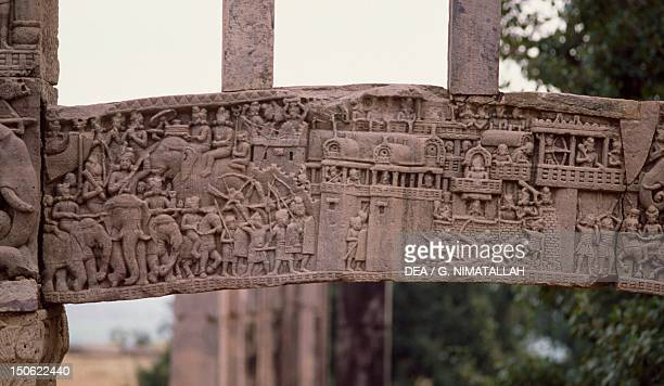 Detail of a relief of the southern gate of the Stupa I in Sanchi India Indian civilization 1st century BC