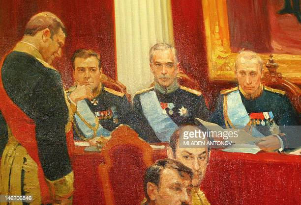 A detail of a replica of the famous Russian painter Ilya Repin's work The Federal Assembly Session created by Sergey Kalinin and Farid Bogdalov on...