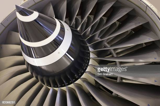 Detail of a Rolls Royce jet engine in the production factory Derbyshire United Kingdom
