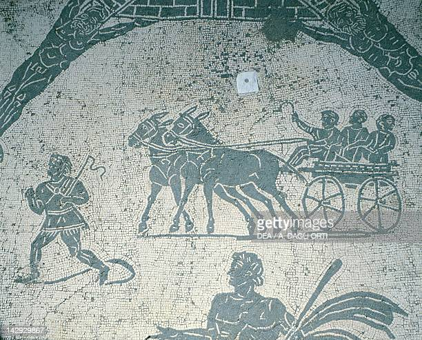 Detail of a Roman floor mosaic depicting children driving a wagon in the Piazzale delle Corporazioni Ostia Antica Roman Civilization 1st Century