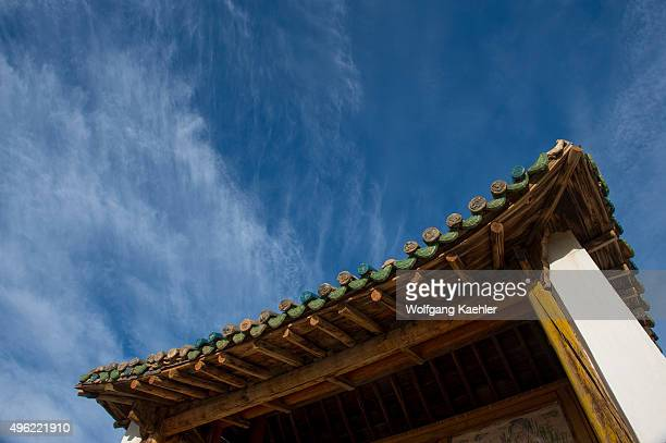 Detail of a roof of the Shankh Monastery Central Mongolia, about 25 kilometers South East of Kharakhorum , is one of Mongolias oldest and most...