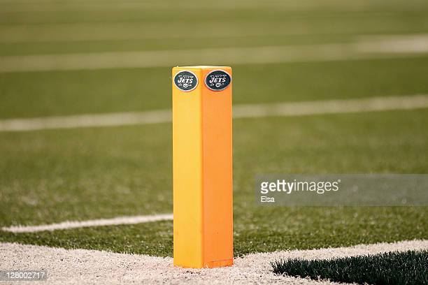 Detail of a scoring end zone pylon with a Jets logo stitched to it as th enj play against the Dallas Cowboys during their NFL Season Opening Game at...
