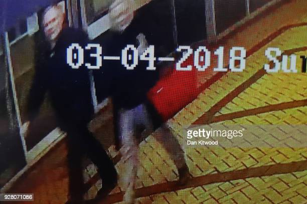 A detail of a screen as a journalist shows CCTV footage on a mobile phone believed to show Sergei Skripal 66 and his duaghter Yulia Skripal in her...