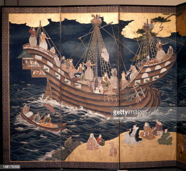 Detail of a screen depicting Portuguese carracks at Nagasaki, Several of the crew members are Goanese. Japan. Japanese. 17th century.