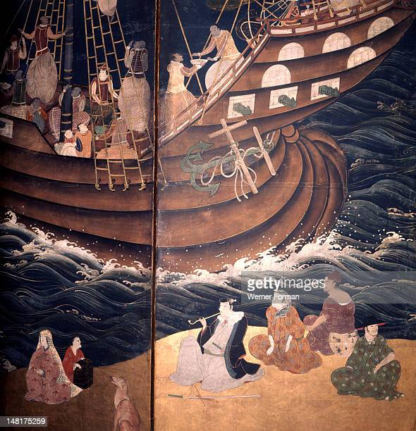 Detail of a screen depicting Portuguese carracks at Nagasaki Several of the crew members are Goanese Japan Japanese 17th century
