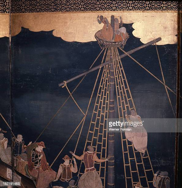 Detail of a screen depicting Portuguese carracks at Nagasaki Several of the crew members are Goanese Japan White Man 17th century