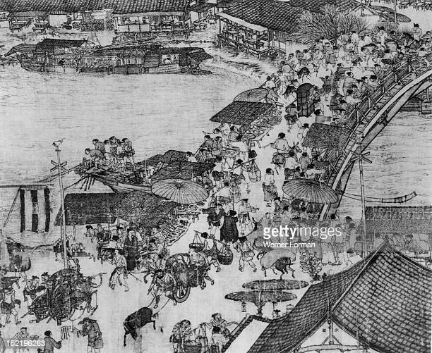 A detail of a scroll called Going Up the River at the Qingming Festival by Zhang Zeduan A scene in what is thought to be the ancient capital of...