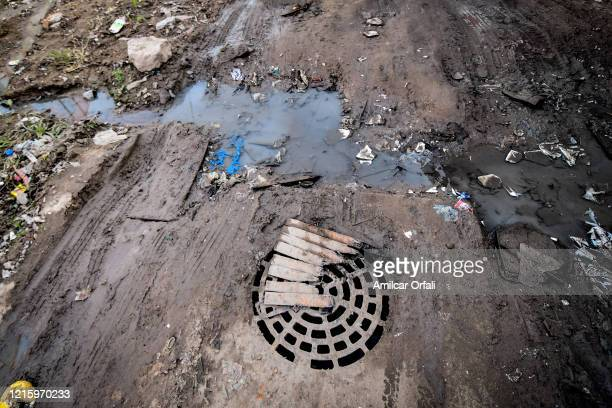 Detail of a sewer at Villa Itati on May 28, 2020 in Quilmes, Argentina. First positive cases of COVID-19 have been detected in this 15,000...