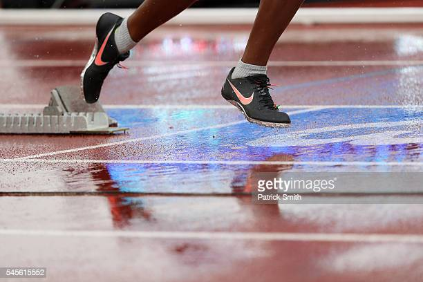 A detail of a shoe is seen during the 2016 US Olympic Track Field Team Trials at Hayward Field on July 8 2016 in Eugene Oregon