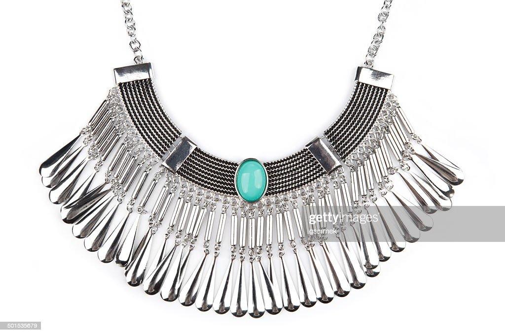 Detail einer silber-statement-Halskette : Stock-Foto