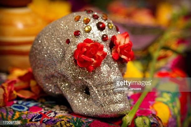 CONTENT] Detail of a skull decoration on a Dia de los Muertos display at the Walker's Point Center for the Arts Milwaukee WI