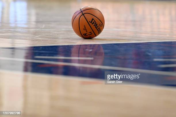 Detail of a Spalding basketball used during the second half between the Indiana Pacers and the New York Knicks at Madison Square Garden on February...