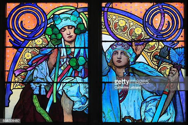 detail of a stained glass by alphonse mucha. life of saints cyril and methodius. st. vitus, wenceslas and adalbert's cathedral. prague. - art nouveau stock pictures, royalty-free photos & images