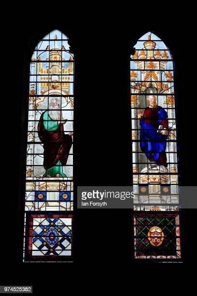 Detail of a stained glass window in York Minster ahead of a media call for the Northern Lights sound and light projection in York Minster on June 14...