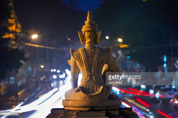 detail of a statue at shwedagon paya - myanmar stock pictures, royalty-free photos & images