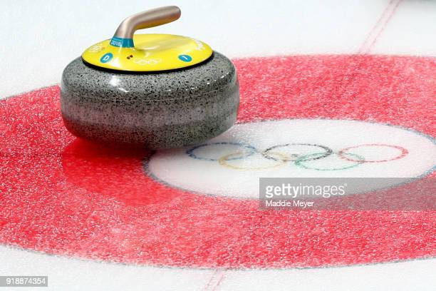 A detail of a stone during the Curling Women's Round Robin Session 4 at Gangneung Curling Centre on February 16 2018 in Gangneung South Korea
