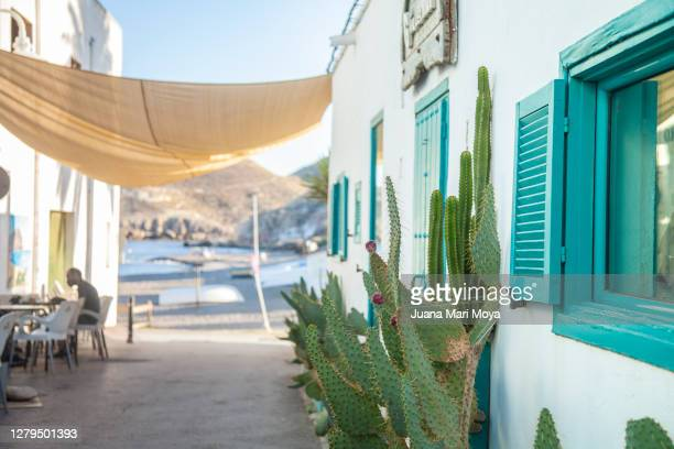 """detail of a street in the fishing village of """"las negras"""" cabo de gata, almería, andalusia, spain. turquoise blue tones, sea and windows and doors are appreciated. - rivage photos et images de collection"""