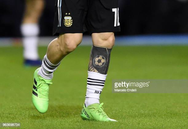 Detail of a tattoo of Lionel Messi of Argentina during warm up before an international friendly match between Argentina and Haiti at Alberto J...