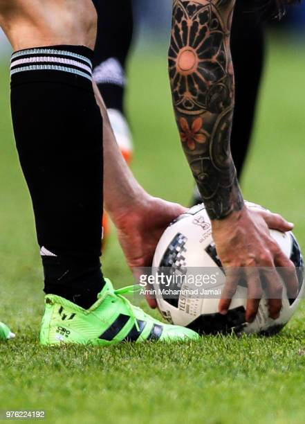Detail of a tattoo of Lionel Messi of Argentina Lionel Messi of Argentina in action during the 2018 FIFA World Cup Russia group D match between...