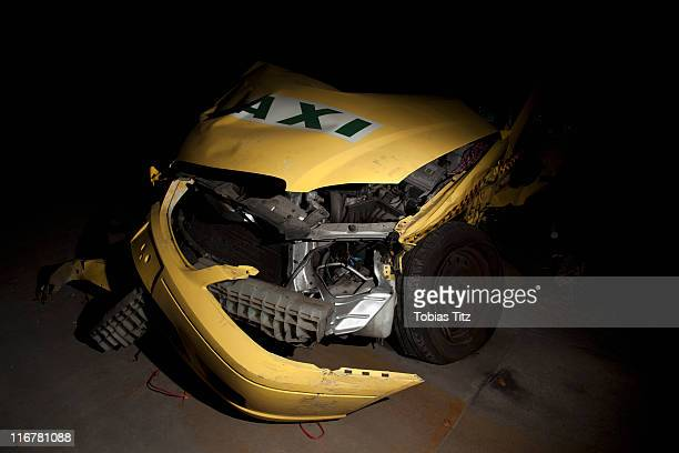 Detail of a taxi wrecked in an accident