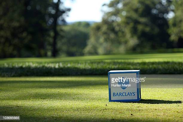 A detail of a tee box with the Barclays logo is seen during the second round of The Barclays at the Ridgewood Country Club on August 27 2010 in...