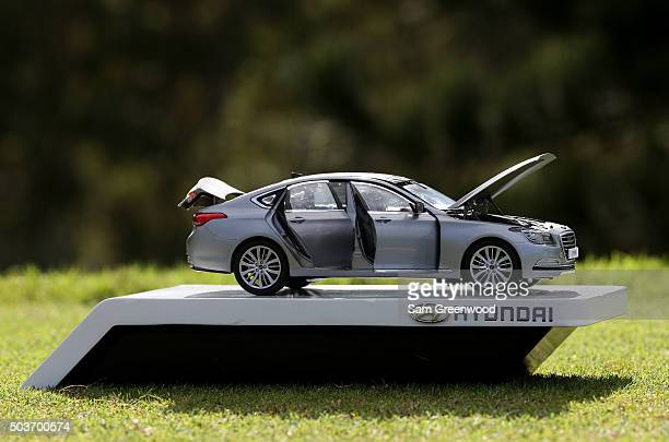 A detail of a tee marker in the form of a car is seen during the Hyundai Tournament of Champions ProAm at the Plantation Course at Kapalua Golf Club...