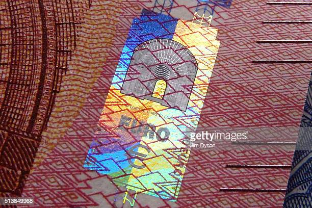 A detail of a ten Euro bank note with hologram design on March 4 2016 in London England