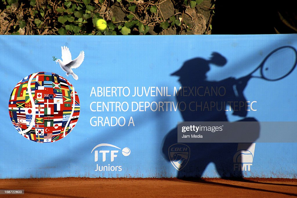 Detail of a tennis player during the Mexican Youth Tennis Open at Deportivo Chapultepec on December 24, 2012 in Mexico City, Mexico.