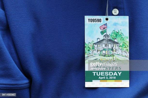 A detail of a ticket during a practice round prior to the start of the 2018 Masters Tournament at Augusta National Golf Club on April 3 2018 in...