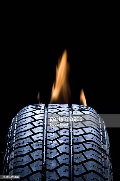 Detail of a tire on fire