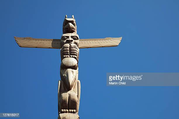 detail of a totem pole Vancouver