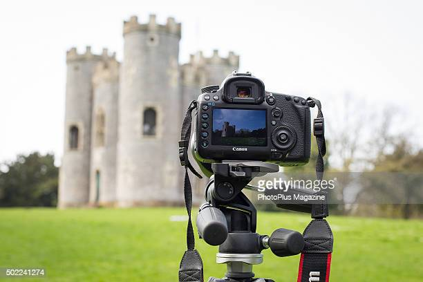 Detail of a tripodmounted Canon DSLR at Blaise Castle in Somerset taken on April 16 2015
