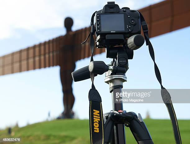 Detail of a tripodmounted Nikon DSLR set up to photograph the Angel of the North sculpture at Gateshead taken on October 18 2014