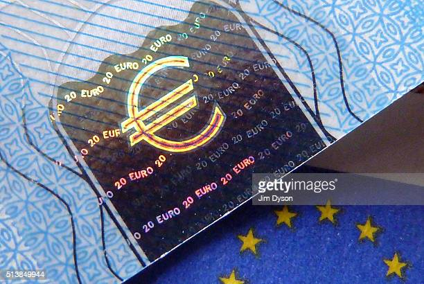 A detail of a twenty Euro bank note with hologram design on March 4 2016 in London England