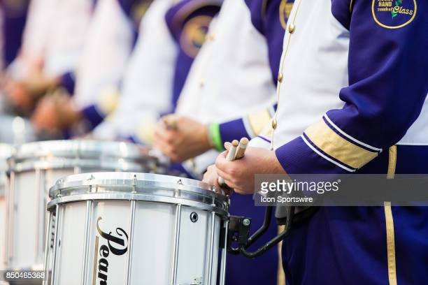 Detail of a University of Washington marching band member's drum prior to a college football game between the Washington Huskies and the Fresno State...