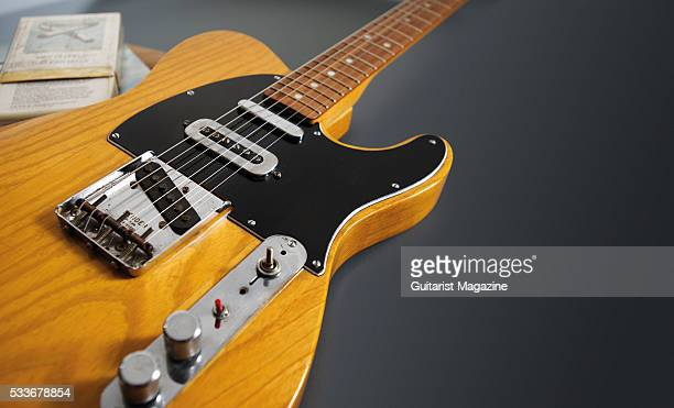 Detail of a vintage 1966 Fender Telecaster electric guitar previously owned by English musician Mike Oldfield taken on July 28 2015 The instrument...