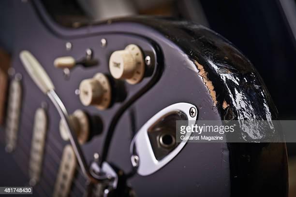 Detail of a vintage 1969 Fender Stratocaster belonging to Pink Floyd guitarist David Gilmour known as The Black Strat taken on December 5 2014