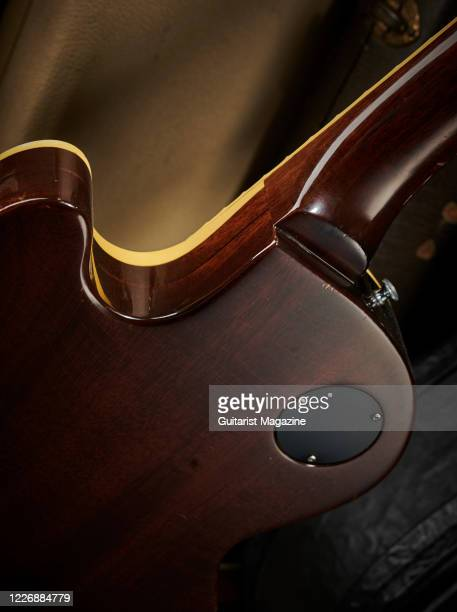 Detail of a vintage 1969 Gibson Les Paul Professional electric guitar with a transparent Walnut finish taken on July 22 2019