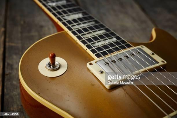 Detail of a vintage Gibson Les Paul '54 Goldtop electric guitar belonging to English rock guitarist Bernie Marsden taken on May 20 2016