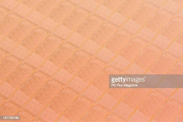 Detail of a wafer of 22nanometer Ivy Bridge CPU's taken on April 27 2012