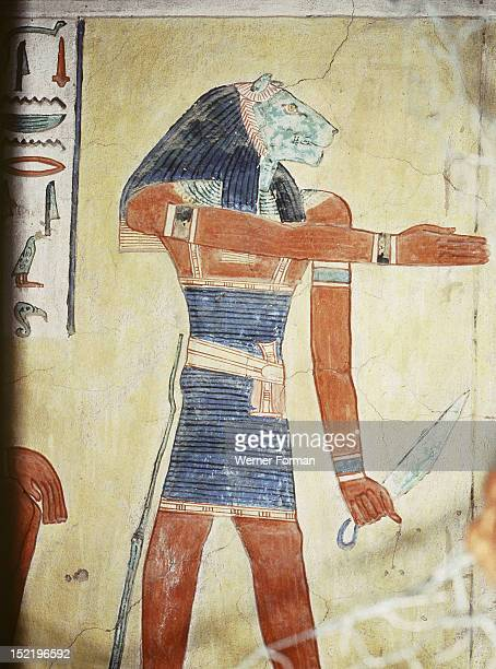 A detail of a wall painting in the tomb of Khaemwaset a son of Ramses II depicting a lion headed spirit or divine being Egypt Ancient Egyptian 20th...