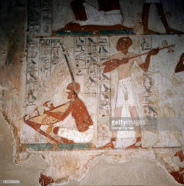 A detail of a wall painting in the tomb of Rekhmire showing musicians playing the harp and the lute Egypt Ancient Egyptian 18th dynasty c 1425 BC...