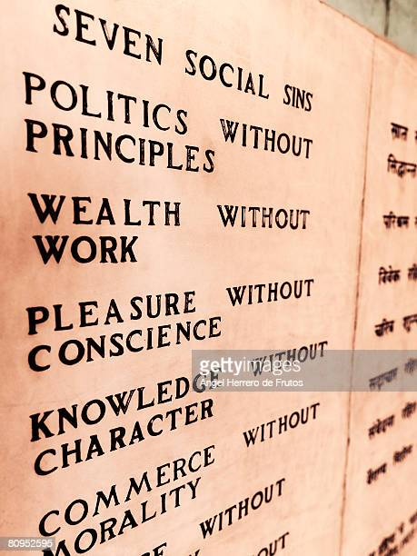 Detail of a wall plaque at the Gandhi Memorial in New Delhi, India. 2008.