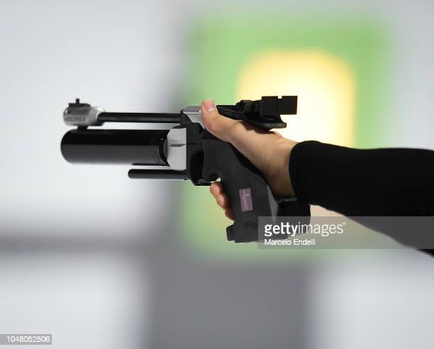 Detail of a weapon during a 10m Air Pistol Women's Qualification Competition during Day 3 of Buenos Aires 2018 Youth Olympic Games at Tecnopolis Park...