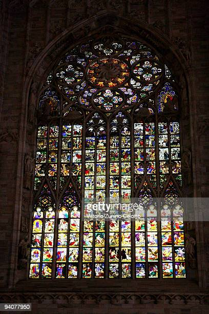 A detail of a window of the Duomo's apse during the Milan Christmas Led Festival on December 6 2009 in Milan Italy